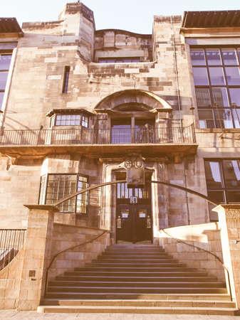 mackintosh: The Glasgow School of Art designed in 1896 by Scottish architect Charles Rennie Mackintosh, Glasgow, Scotland vintage