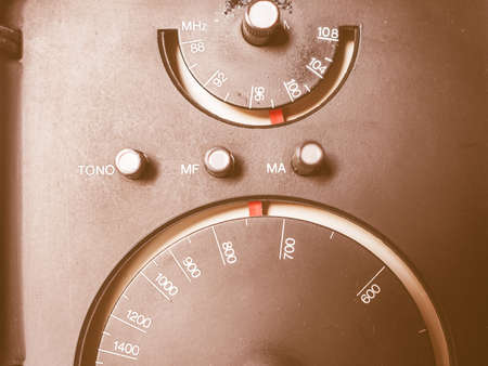 frequencies: Vintage AM and FM radio tuner vintage Stock Photo
