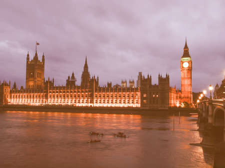 bigben: Big Ben Houses of Parliament Westminster Palace London gothic architecture - at night vintage