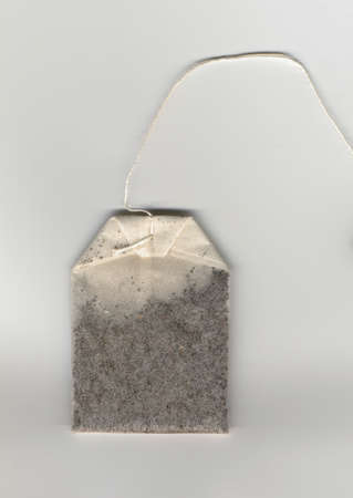 sealed: Tea bag small porous sealed bag containing tea leaves used with water for brewing tea Stock Photo