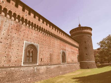 sforza: Castello Sforzesco (Sforza Castle) in Milan, Italy vintage Editorial