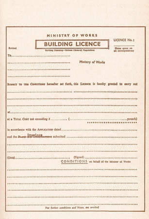 permit: Vintage blank Building Licence, aka Planning Permission or Building Permit for construction works vintage Stock Photo