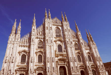 gothic: Vintage looking Milan cathedral aka Duomo di Milano gothic church