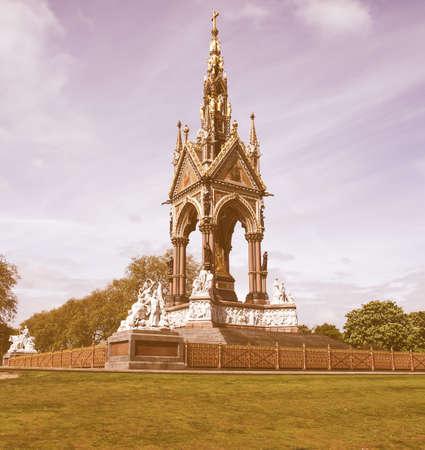 kensington: Albert Memorial in Kensington gardens, London, UK vintage