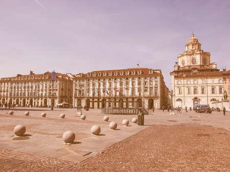 castello: TURIN, ITALY - APRIL 09, 2014: Tourists visiting Piazza Castello, the central baroque square vintage