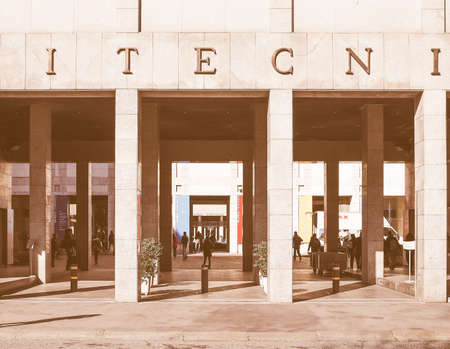 is established: TURIN, ITALY - FEBRUARY 25, 2015: The Politecnico di Torino meaning Polytechnic University of Turin is the oldest public technical university in Italy, established in 1859 vintage