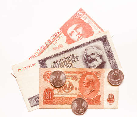 ddr: Money from the Communist countries: CCCP SSSR DDR Cuba vintage Stock Photo