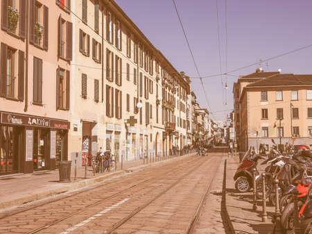 ticinese: MILAN, ITALY - MARCH 28, 2015: Via Porta Ticinese in Milan vintage