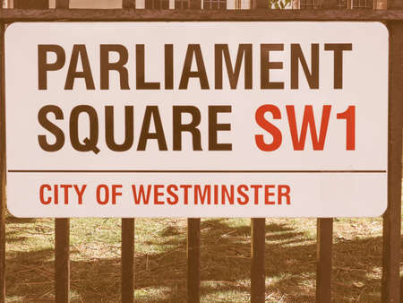 parliament square: LONDON, UK - JUNE 09, 2015: Parliament Square sign in the City of Westminster vintage