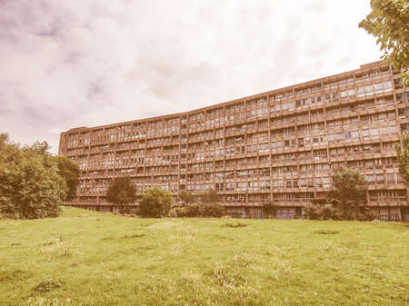 alison: LONDON, ENGLAND, UK - MARCH 05, 2009: The Robin Hood Gardens housing estate designed in late sixties by Alison and Peter Smithson is a masterpiece of new brutalist architecture vintage