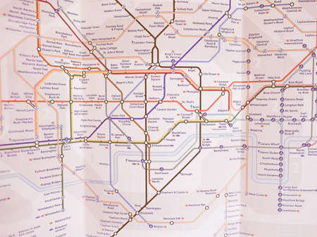 england map: LONDON, UK - JANUARY 10, 2015: Tube map of the London Underground subway lines vintage