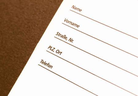datos personales: Detalle de un formulario de datos personales - en la cosecha alem�n