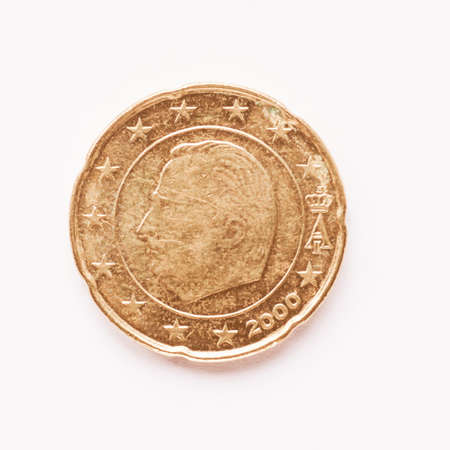 belgie: Currency of Europe 20 cent coin from Belgium vintage