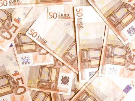 50 euro: Range of 50 Euro banknotes useful as a background vintage Stock Photo