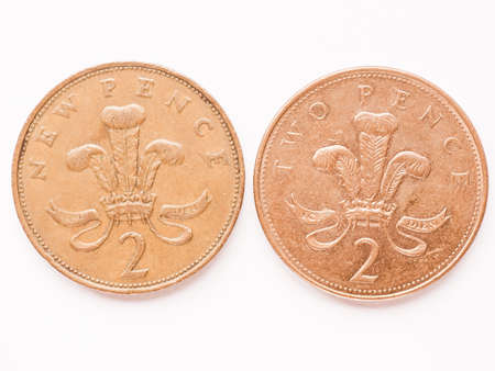 pence: Currency of the United Kingdom 2 pence coin vintage