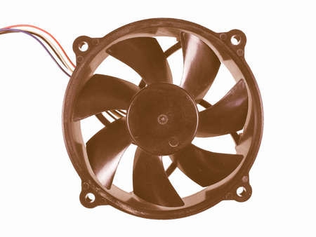 cool down: Computer fan to cool down the CPU isolated over white background vintage Stock Photo