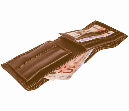 billfold: Money in a wallet billfold isolated over white vintage