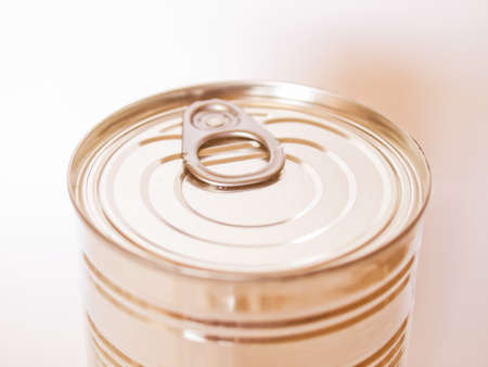 tin: A tin can for canned food conservation vintage Stock Photo