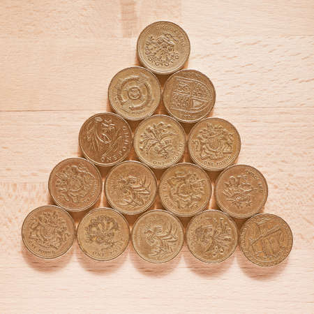 British Pound coins currency of the United Kingdom vintage Stock Photo