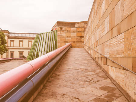 masterpiece: STUTTGART, GERMANY - JULY 13, 2012: The Neue Staatsgalerie art gallery is a masterpiece of postmodern architecture designed by British architect Sir James Stirling in 1977 vintage