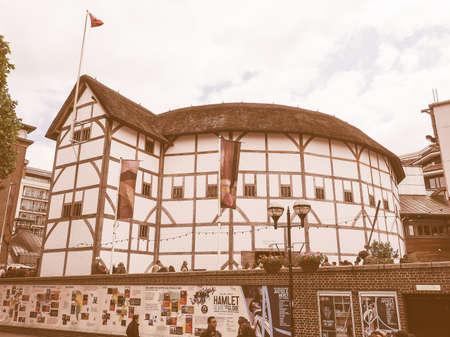 globe theatre: LONDON, UK - JUNE 10, 2015: The Shakespeare Globe Theatre vintage Editorial