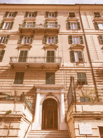 nobel: GENOA, ITALY - MARCH 16, 2014: The great Italian Nobel poet Eugenio Montale was born in this house in year 1896 vintage
