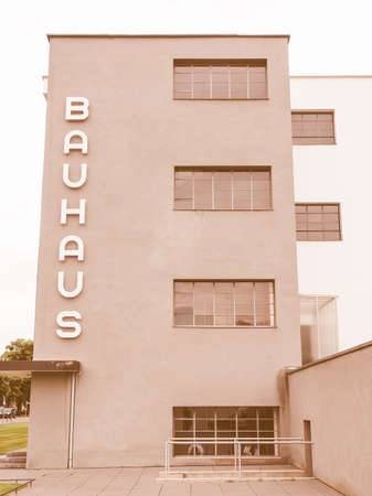 rationalism: DESSAU, GERMANY - JUNE 13, 2014: The Bauhaus art school iconic building designed by architect Walter Gropius in 1925 is a listed masterpiece of modern architecture vintage