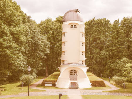 the theory of relativity: POTSDAM, GERMANY - MAY 10, 2014: The Einstein Turm astrophysical observatory was designed by architect Erich Mendelsohn in 1917 for Albert Einstein to validate his Relativity Theory vintage