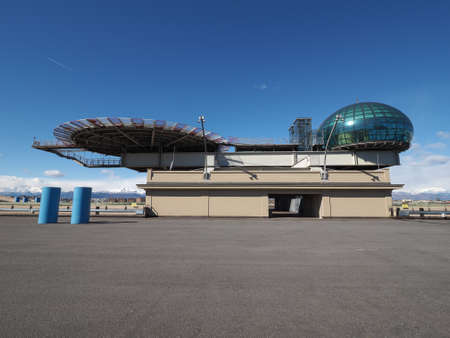 helipad: TURIN, ITALY - CIRCA MARCH 2016: Roof meeting room know as La Bolla meaning The Bubble and helipad at Lingotto conference centre designed by Renzo Piano in former Fiat car factory