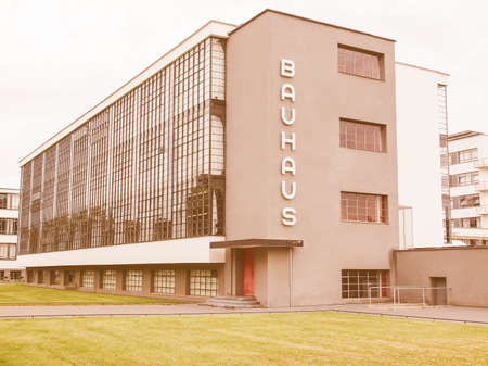 listed: DESSAU, GERMANY - JUNE 13, 2014: The Bauhaus art school iconic building designed by architect Walter Gropius in 1925 is a listed masterpiece of modern architecture vintage