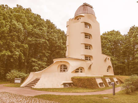 astrophysical: POTSDAM, GERMANY - MAY 10, 2014: The Einstein Turm astrophysical observatory was designed by architect Erich Mendelsohn in 1917 for Albert Einstein to validate his Relativity Theory vintage