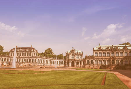 addition: DRESDEN, GERMANY - JUNE 11, 2014: Dresdner Zwinger palace designed by Poeppelmann in 1710 as orangery and exhibition gallery completed by Gottfried Semper with the addition of Semper Gallery in 1847 vintage