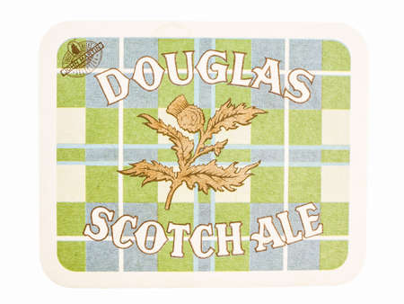 douglas: LONDON, UK - MARCH 15, 2015: Beermat of British beer Douglas Scotch Ale isolated over white background vintage Editorial