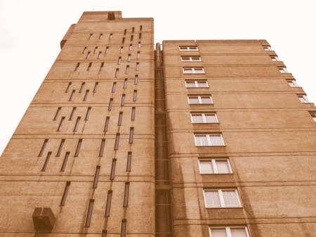 listed: LONDON, ENGLAND, UK - MARCH 05, 2009: The Balfron Tower designed by Erno Goldfinger in 1963 is a Grade II listed masterpiece of new brutalist architecture vintage Editorial