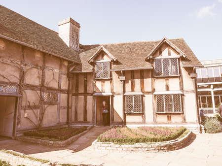 william: STRATFORD UPON AVON, UK - SEPTEMBER 26, 2015: William Shakespeare birthplace vintage