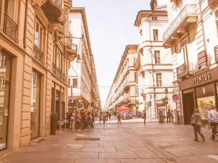 garibaldi: TURIN, ITALY - APRIL 09, 2014: People visiting Via Garibaldi high street vintage