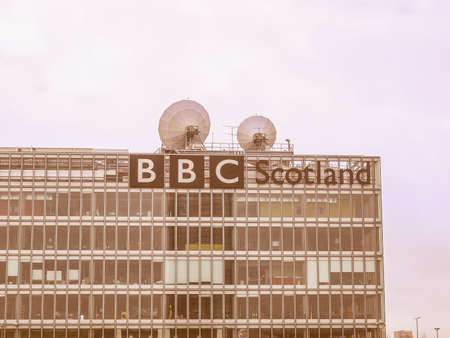 bbc: GLASGOW, SCOTLAND, UK - SEPTEMBER 19: The BBC Scotland tv studios from where the XX Commonwealth Games 2014 will be broadcast worldwide on September 19, 2010 in Glasgow, Scotland, UK vintage Editorial