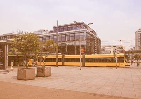 trams: DRESDEN, GERMANY - JUNE 11, 2014: Trams are the main public transport in Dresden vintage Editorial