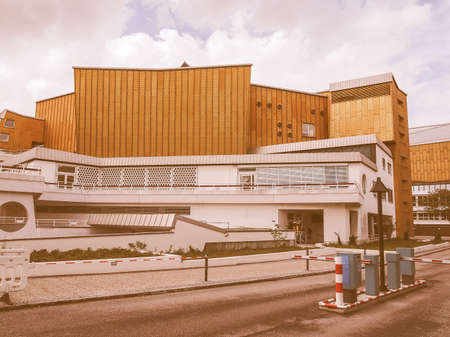 hans: BERLIN, GERMANY - MAY 09, 2014: The Berliner Philharmonie concert hall designed by German architect Hans Scharoun in 1961 is a masterpiece of modern architecture vintage Editorial