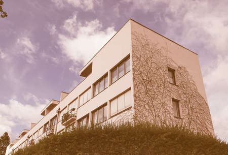 rationalist: STUTTGART, GERMANY - JULY 11, 2012: The Weissenhof Siedlung model houses were designed in 1927 for the modern architecture exhibition by major rationalist architects of the time under the masterplan of Mies Van Der Rohe vintage