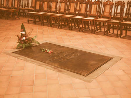 he: LEIPZIG, GERMANY - JUNE 12, 2014: Johann Sebastian Bach grave in the Thomaskirche St Thomas church where he was choir director from 1723 until his death in 1750 vintage