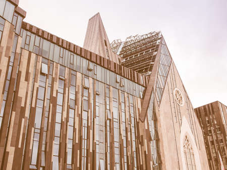 includes: LEIPZIG, GERMANY - JUNE 14, 2014: The new Augusteum is the main Leipzig university building built in 2012 which includes the Paulinum church vintage