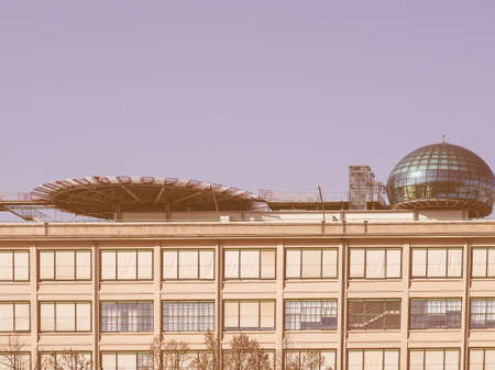 helipad: TURIN, ITALY - NOVEMBER 07, 2015: Roof meeting room know as La Bolla meaning The Bubble and helipad at Lingotto conference centre designed by Renzo Piano in former Fiat car factory vintage Editorial