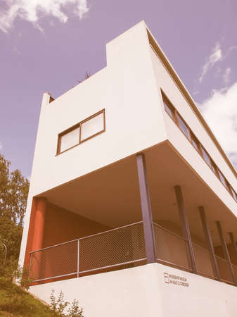 rationalism: STUTTGART, GERMANY - JULY 14, 2012: The Weissenhof Siedlung model houses were designed in 1927 for the modern architecture exhibition by major rationalist architects of the time under the masterplan of Mies Van Der Rohe vintage