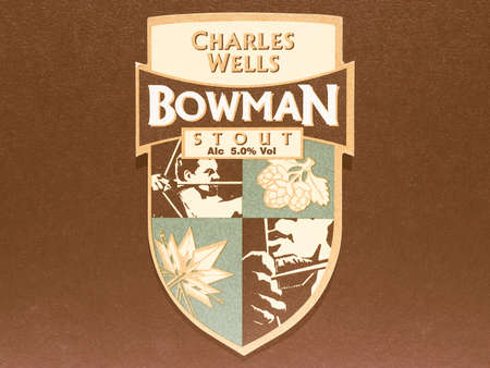 bowman: LONDON, UK - DECEMBER 11, 2014: Beermat of British beer Charles Wells Bowman Stout vintage Editorial
