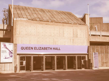 venue: LONDON, ENGLAND, UK - SEPTEMBER 27, 2011: Queen Elizabeth Hall iconic masterpiece of the New Brutalism and world class music venue part of the South Bank Centre vintage