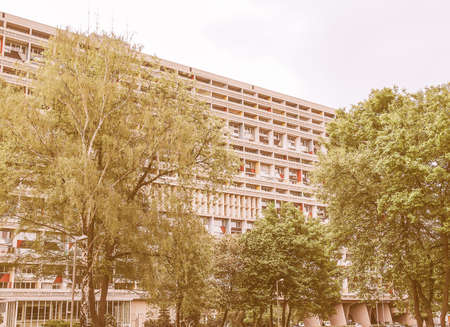 rationalist: BERLIN, GERMANY - MAY 11, 2014: The Corbusier Haus was designed by Le Corbusier in 1957 following his concept of Unite dHabitation (Housing Unit) vintage