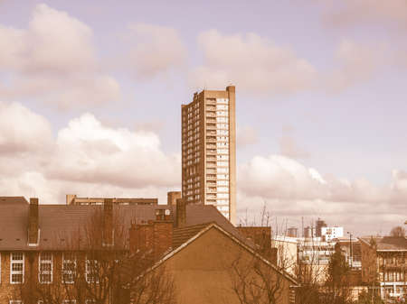 late sixties: LONDON, ENGLAND, UK - MARCH 05, 2009: The Robin Hood Gardens housing estate designed in late sixties by Alison and Peter Smithson is a masterpiece of new brutalist architecture vintage