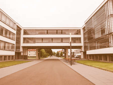 masterpiece: DESSAU, GERMANY - JUNE 13, 2014: The Bauhaus art school iconic building designed by architect Walter Gropius in 1925 is a listed masterpiece of modern architecture vintage