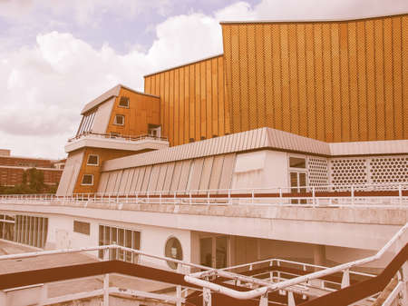 rationalism: BERLIN, GERMANY - MAY 09, 2014: The Berliner Philharmonie concert hall designed by German architect Hans Scharoun in 1961 is a masterpiece of modern architecture vintage Editorial